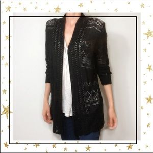 89Th&Madison Open front Black knit cardigan (C3)